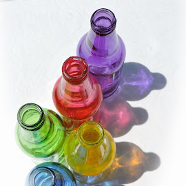 Top down by Melissa Davis - Artistic Objects Glass ( missysphotography, bottles, rainbow, bottle art, colored bottles )