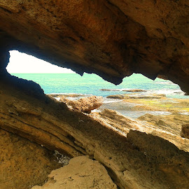 A Sea Glimpse by Helen Roberts - Landscapes Caves & Formations