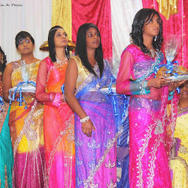 Colorful parade by Gavin du Plessis - Wedding Ceremony ( wedding, colors, gifts, sari, indian wedding )