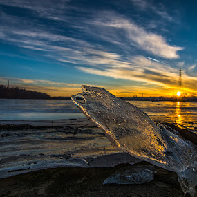 Cold Sun by Bob White - Landscapes Sunsets & Sunrises ( love, picoftheday, orange, sky, sunset, frozen, river,  )