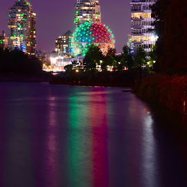 Science World in Vancouver by Cory Bohnenkamp - City,  Street & Park  Night ( golf ball, false creek, reflections, night, vancouver, science world, city )