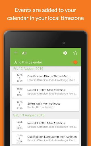 Rio Calendar 2016 (RioCal) - screenshot