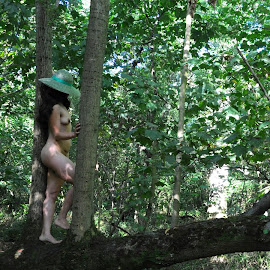 Spirit of the Branch by DJ Cockburn - Nudes & Boudoir Artistic Nude ( forest, south asian, woman, art nude, woodland, green hat, natural light, profile, tree, branch, outdoor, dark hair, standing, full length, brunette, anonymous, model, wood, anonymised, indian )