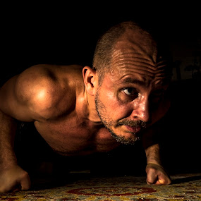 Sweat and Concentration by Lajos E - Sports & Fitness Fitness ( training, push-up, strength, male, dark, press-up, power, sport, exercise, man, black, induration,  )