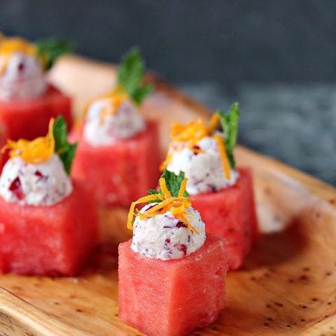 Watermelon Cups with Cranberry Mascarpone