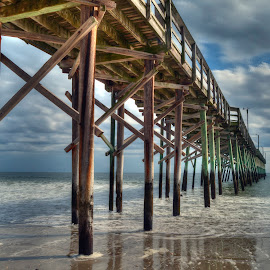 Out to the clouds by Steve Brooks - Buildings & Architecture Bridges & Suspended Structures ( sand, pier, ocean, north carolina landscape photography, beach, holden beach )