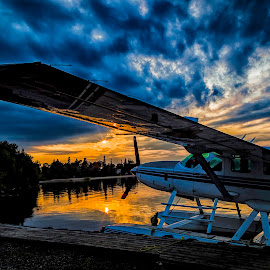 Ready for the next day by Tammy Scott - Transportation Airplanes ( orange, blue sky, nature, plane, waterscape, transportation, landscapes )
