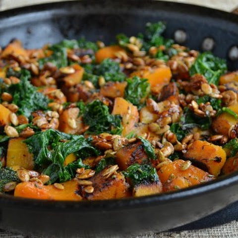 Skillet Butternut Squash and Kale with Maple-Roasted Pumpkin Seeds