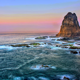 Morning Coloring by Ecenk Eng - Landscapes Beaches ( sky, hdr, color, indonesia, stone, sea, beach, morning, landscape )