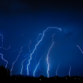 Symphony of Lightning by Marc Rossmann - Landscapes Weather ( vertical, flash, rossmann, bolt, bright, ground, greeting cards, storm, landscape, photomarc, strike, phenomena, sky, nature, weather, power, electricity, electrostatic, elements, rain, black, thunder, clouds, thunderstorm, chasing, wallpaper, white, lightning, blue, horizontal, background, night, energy )