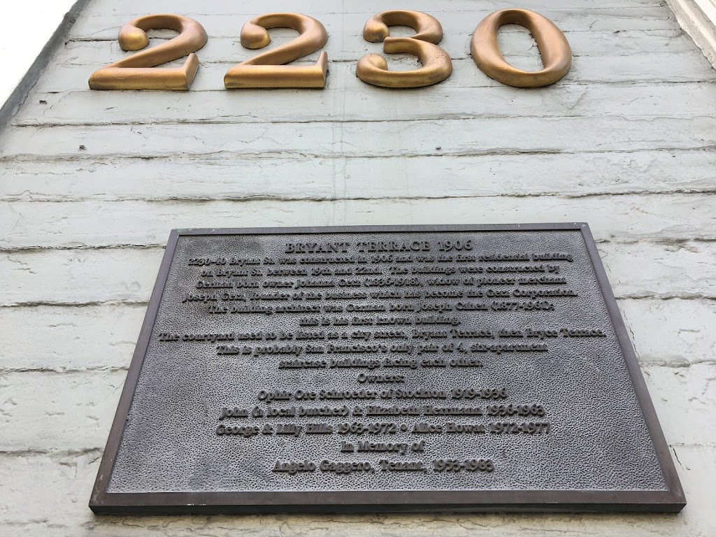 Spotted walking down Bryant Street, near the eastern edge of San Francisco's Mission District, after work. It's a non-official-type plaque, devised by someone devoted to the history of this one ...