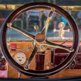 Vintage Ford by Eva Krejci - Transportation Automobiles ( car, red, emblem, vintage, color, steering wheel, brass, dashboard, ford )