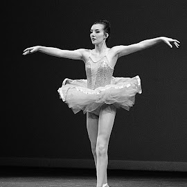 Ballerena by Jerry Ehlers - People Musicians & Entertainers ( dance recital, female, black and white, performance, ballerina, pirouette )