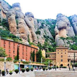 Santa Maria de Montserrat Abbey by Svetlana Saenkova - City,  Street & Park  Historic Districts ( spain, square, mountain, panorama, historic, rocks, city, barcelona, panoramic, montserrat,  )