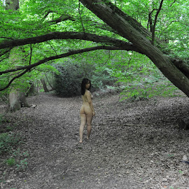 Glimpse of the Dryad by DJ Cockburn - Nudes & Boudoir Artistic Nude ( outdoor, chinese, forest, woman, art nude, woodland, walking, natural light, asian, tree, model, cece )