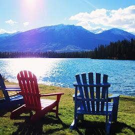 Bright Morning Walk  by Lydia Chang - Nature Up Close Water ( chairs, colors, lake, jasper, walk )