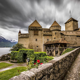 Chateau de Chillon by Nikolas Ananggadipa - Buildings & Architecture Public & Historical ( clouds, sunset, dramatic, cloudy, switzerland, castle, long exposure, lake, montreux, historical, chateau )