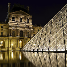 louvre by Herry Wibisono - Buildings & Architecture Public & Historical ( romantic city, paris, louvre, romantic night, pyramid, france, museum, night shot )
