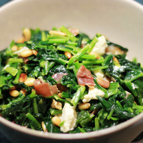 TLC - Low Carb Spinach Side Dish with Feta and Prosciutto