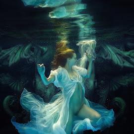 Phantasm by Dmitry Laudin - Nudes & Boudoir Artistic Nude ( fantasy, nude, underwater, vision, woman, swim, ghost, light, hair )