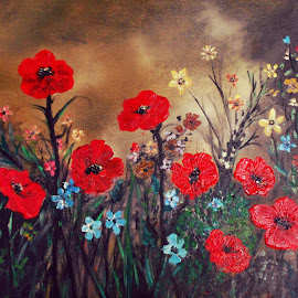 Poppy Field by Rhonda Lee - Painting All Painting ( field, poo ainting, red, poppies, poppy, flowers, floral )