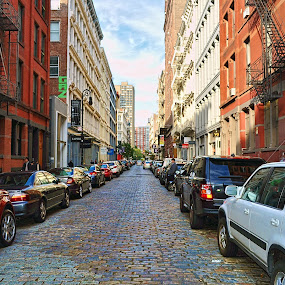 Follow the Cobblestone Road by Ray Hepworth - City,  Street & Park  Street Scenes