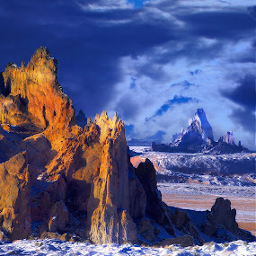 Glowing Rock by Thomas Born - Landscapes Caves & Formations ( clouds, winter, snow, rock formation, dessert,  )