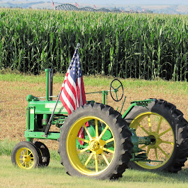Patriotic Tractor by Cyndi McCoun - Novices Only Landscapes ( pivot irrigation, flag, farmland, july, independence day, country. america, tractor, corn )