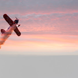 Pit plane in sunset by Ian Turnell - Transportation Airplanes ( #plane#orange#sky#sunset#airshow )