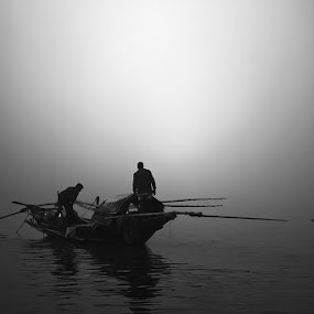 The Mystic River by Arnab Sarkar - Transportation Boats ( water, winter, fog, kolkata, weather, india, fishing, boat, people, river, mist )