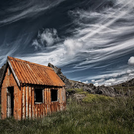 Small Cabin  by Þorsteinn H. Ingibergsson - Landscapes Cloud Formations ( clouds, cabin, iceland, sky, nature, hut, structor, landscape, abandoned )