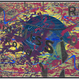 Old Mission Road by Joerg Schlagheck - Digital Art Abstract ( abstract, old, technology, bike, freaked out, yellow, road )
