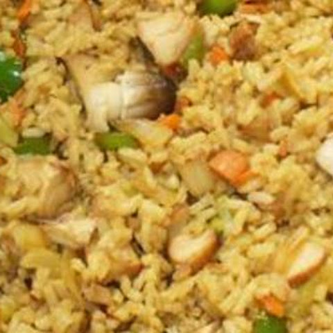 Two are asian chicken fried rice with cashews mir
