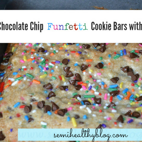 Banana Chocolate Chip Funfetti Cookie Bars with Lemon