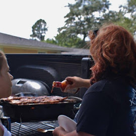 Tailgate cookout! by Terry Linton - City,  Street & Park  Street Scenes