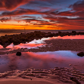 Morning Glory by Clive Wright - Landscapes Sunsets & Sunrises ( water, reflection, sea, rock, landscape, fire )