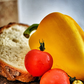Om Nom Nom by Damian Allison - Food & Drink Fruits & Vegetables ( tomato, food, bread, pepper, lunch, olive, knife )