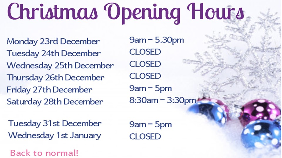 Christmas opening times for the salon.