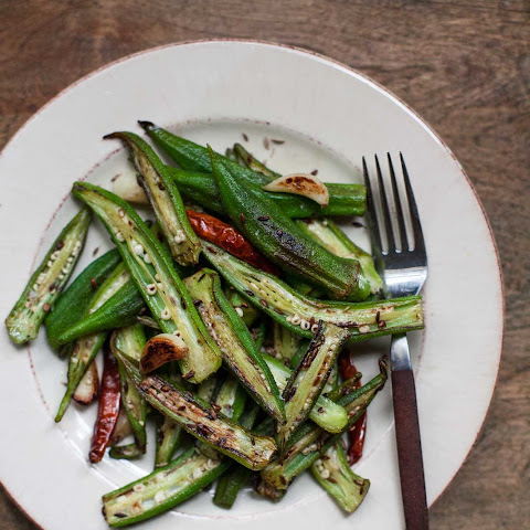 Blistered Okra with Garlic and Cumin