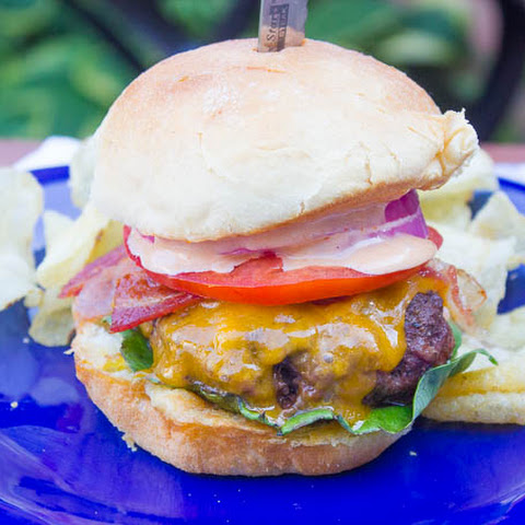 Bacon Cheddar Hamburgers with Special Sauce