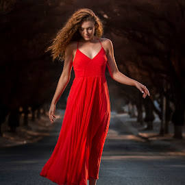 Eduard Labuschagne by Eduard Labuschagne - People Portraits of Women ( redhead, outdoor, red hair, pose, street, sunset, red dress, model )