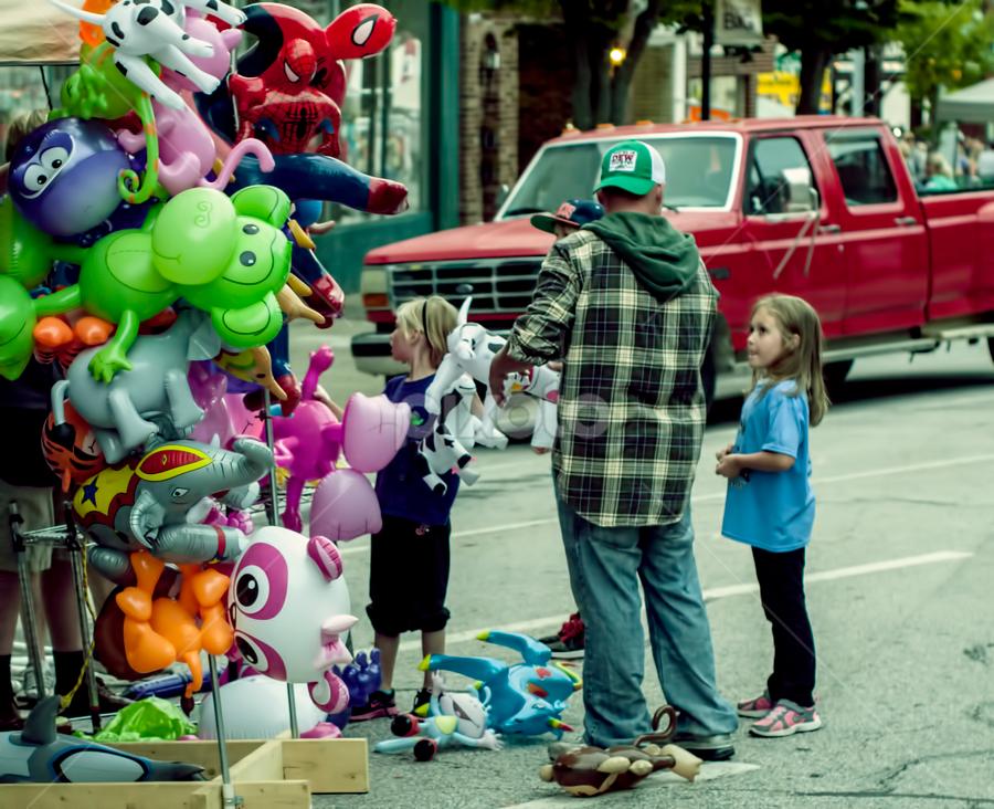 Balloon Animals by Frank Matlock II - People Street & Candids ( animals, happy, outdoors, street, children, inflated, ballon )