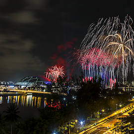 Singapore Sea Games 2015 Fireworks Rehearsal by Stephen Loke - Abstract Fire & Fireworks