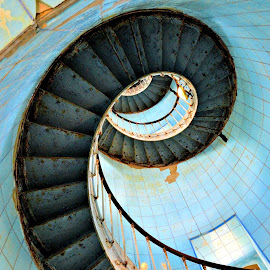 Phare de la Coubre by Heather Aplin - Buildings & Architecture Architectural Detail ( stairs, window, blue, phare, lighthouse, banisters, spiral, coubre, charente, maritime, iron )