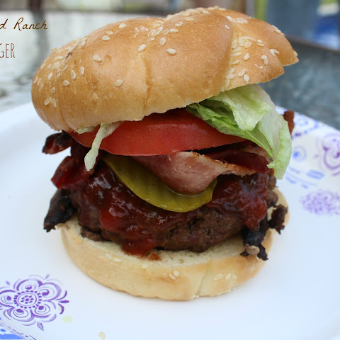 Cheese-Stuffed Grilled Ranch Bacon Burger recipe.