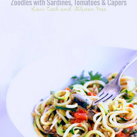 Zoodles with Sardines, Tomatoes & Capers - Low Carb