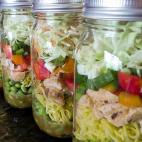 Asian Chicken Noodle Mason Jar Salad with Sesame Peanut Dressing