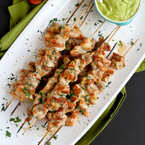 Spiced Chicken Skewers with Avocado Chile Coconut Sauce