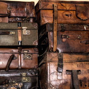 suitcases of old by Linda Stander - Artistic Objects Antiques ( old, suitcase, brown, case, leather )