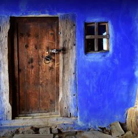 Blue little cottage by Radita Watkinson - Buildings & Architecture Public & Historical ( old, window, blue, cottage, door )